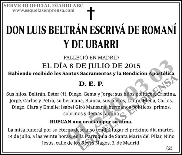 Luis Beltrán Escrivá de Romaní y de Ubarri